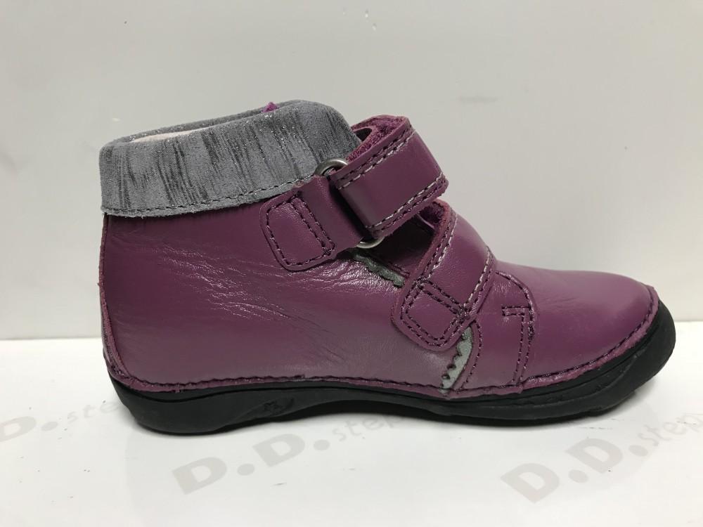 3ba3ad8a53 D.D. Step lány félmagas szárú lila bőrcipő levelekkel az oldalán,25,26,27