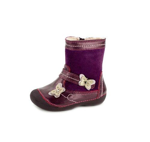 D.D. Step kislány téli bőrcsizma lila,2 pillangós,cipzáras,19-es (015-124) - AKCIÓS