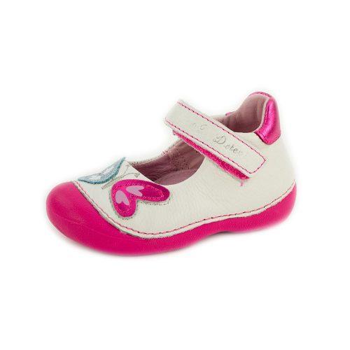 D.D. Step kislány tavaszi/nyári balerina/szandálcipő fehér pink talpú, 19-23 (015-138b) - AKCIÓS
