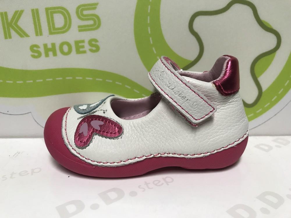 D.D. Step kislány tavaszinyári balerinaszandálcipő fehér pink talpú, 23 as (015 138b) AKCIÓS