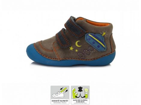 D.D. Step kisfiú TEX-es zárt cipő, kék/barna ufós  21,22, (015-180b)