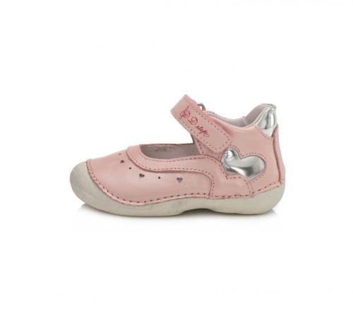 D.D. Step kislány szandálcipő csillogó rózsaszín, ezüst szívvel, 21,22,23 (015-199A)