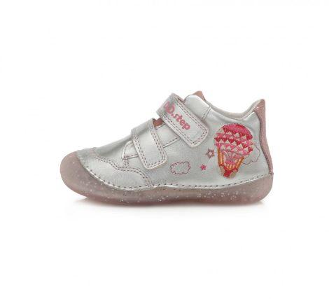 D.D. Step kislány zárt cipő , csillogó ezüst, hőlégballonnal, 21-24(015-350a) POSTA AZ ÁRBAN!!