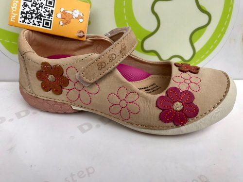 D.D. Step nagylány szandálcipő, nyitott cipő - krém, rózsaszín virágos - 35-36 - AKCIÓS