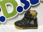 D.D. Step kisfiú téli bőrbakancs, fekete-sárga,rakétás 19,21,22,24 (029-303)