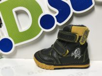 D.D. Step kisfiú téli bőrbakancs, fekete-sárga,rakétás 19-es  (029-303)