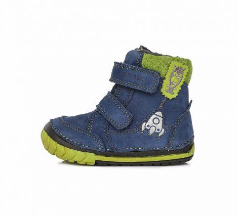 D.D. Step kisfiú téli bőrbakancs, kék-zöld,rakétás 19-es(029-303b)