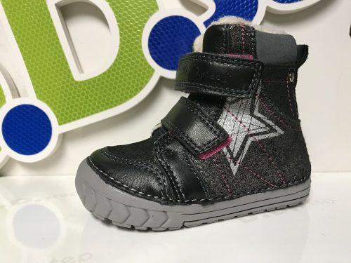 D.D. Step kislány téli TEX-ES fekete,csillagos bőrbakancs, 21,23,24 (029-312) - AKCIÓS
