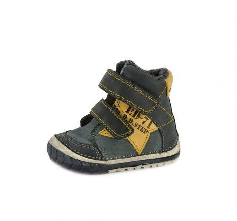 D.D. Step kisfiú téli bőrbakancs, feketésszürke,sárga csillaggal 19-es (029-72a) - AKCIÓS