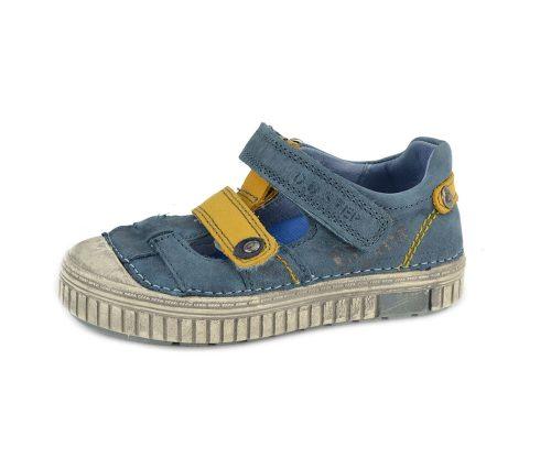 D.D. Step nagyfiú tavaszi/nyári bőr szandálcipő, tengerkék,sárga tépős , 31-35 (033-8bl) - AKCIÓS