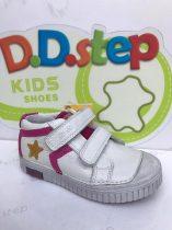D.D. Step nagylány zárt cipő, fehér, sárga csillagos - 36-os