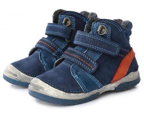 D.D. Step kisfiú téli bőrbakancs, kék-narancs,sportos 19,21,24 (038-237) - AKCIÓS