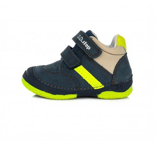 D.D. Step kisfiú TEX-es zárt cipő, sötétkék, neon csíkkal! 19-21,24! (038-796) POSTA  AZ ÁRBAN!