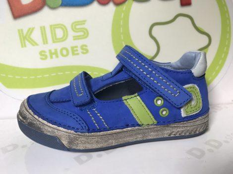 """D.D. Step nagyfiú tavaszi/nyári bőr szandálcipő, kék, zöld """"D"""" betűs, 31,33,36 (040-414b) - AKCIÓS"""