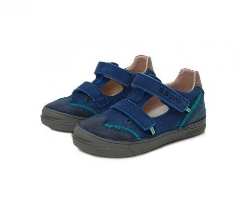 D.D. Step nagyfiú tavaszi/nyári bőr szandálcipő kék,türkiz csíkkal, 31,32 (040-438al) AKCIÓS