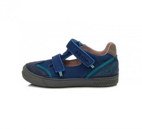 D.D. Step fiú tavaszi/nyári bőr szandálcipő kék, türkiz csíkkal díszítve - 28,30  (040-438a) - AKCIÓS