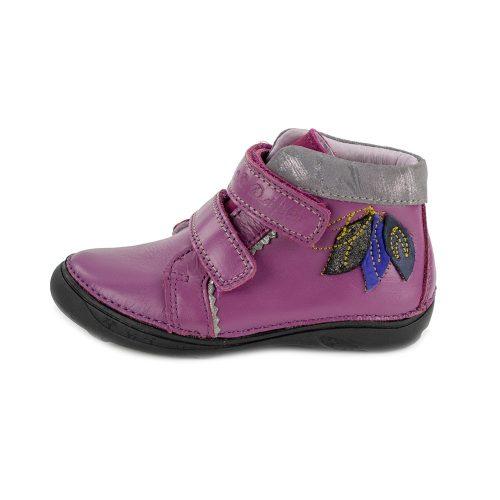 D.D. Step lány félmagas szárú lila bőrcipő levelekkel az oldalán,25,26,(046-608b) - AKCIÓS