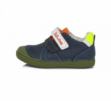 D.D. Step fiú átmeneti sötétkék,zöld talpú bőrcipő, 27,28,30 (049-228bM) POSTA AZ ÁRBAN!!