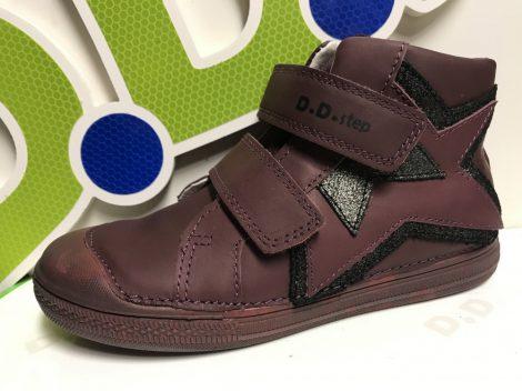 D.D. Step nagylány TEX-es magas szárú bőrcipő, bordó, 33,36 (049-905L)