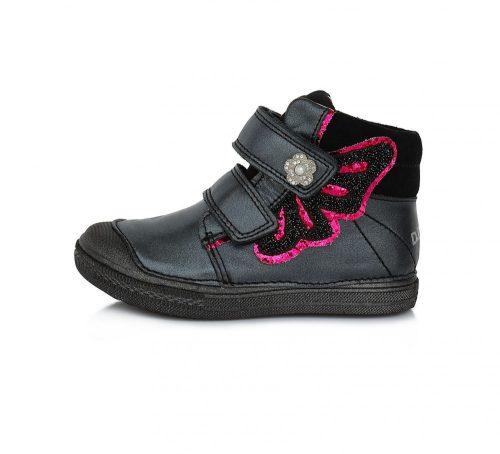 D.D. Step lány átmeneti TEX-ES  bőrcipő,fekete, 25-30 (049-940) POSTA AZ ÁRBAN!
