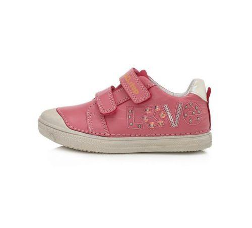 D.D. Step lány átmeneti  bőrcipő, pink,love felirattal, 25,28,29,30 (049-995bm) AKCIÓS