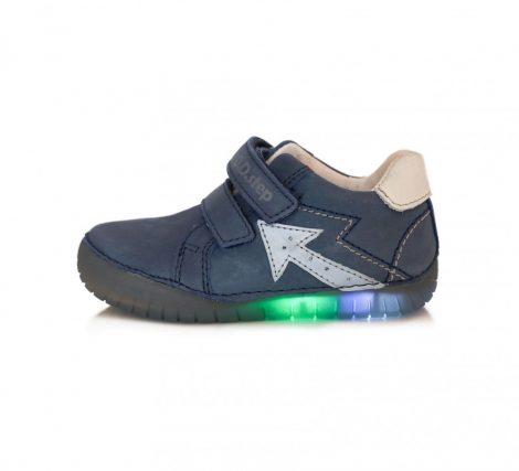 D.D Step nagyfiú átmeneti LED-ES VILLOGÓ bőrcipő, sötétkék, 32-36 (050-17)
