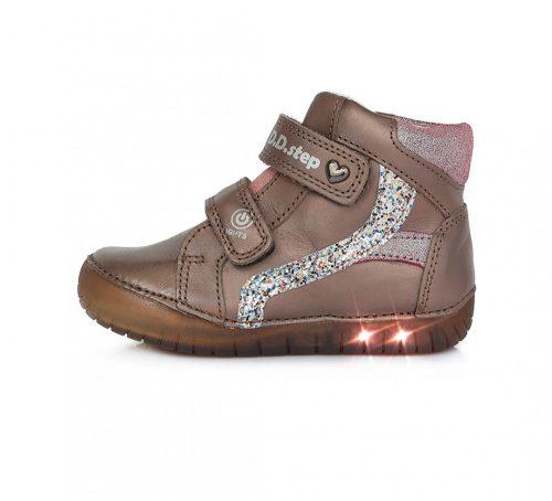 D.D. Step nagylány vagány, TEX-ES bronz VILLOGÓ (kikapcsolható) átmeneti bőrcipő 33,36 (050-944el) - POSTA AZ ÁRBAN!