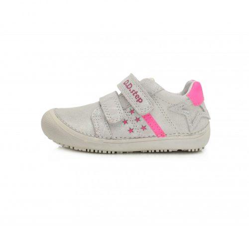 D.D. Step lány átmeneti  bőrcipő, csillogó fehér, 25-30 BAREFOOT, (063-932Am) AKCIÓS!!