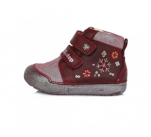 D.D. Step kislány zárt cipő TEX-es, BORDÓ, hópihés bőrcipő! 20-25! (066-938B) POSTA AZ ÁRBAN!