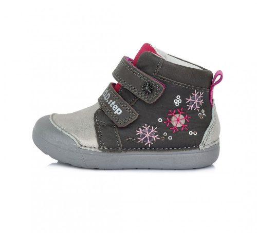 D.D. Step kislány zárt cipő TEX-es, ezüst, hópihés bőrcipő! 20-25! (066-938a) POSTA AZ ÁRBAN!