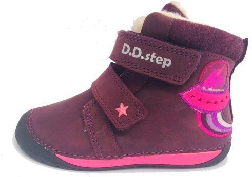 D.D. Step kislány téli TEX-ES bordó, BAREFOOT-OS, unikornisos bőrbakancs, 21,22,25 (070-90A) - AKCIÓS