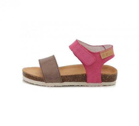 D.D. Step nagylány bőrszandál barna,pink pántos, parafatalpú, 31-34 (33-38)(AC051-4A) - AKCIÓS