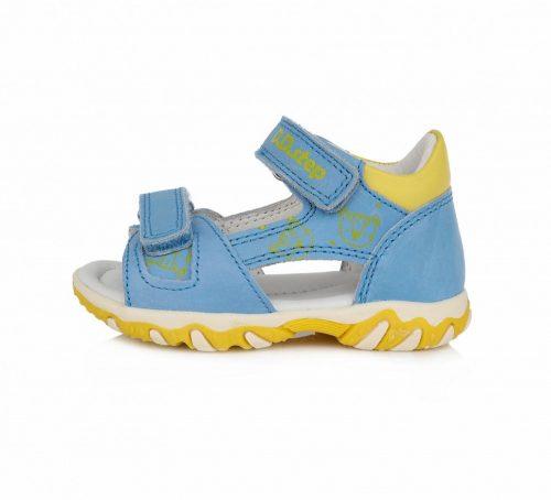 D.D. Step kisfiú bőrszandál, 2 tépőzáras, kék-sárga macifejes (ac625-51)- 20,21,23,25 (KISEBB MÉRETZÉS) AKCIÓS