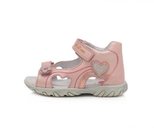 D.D. Step kislány bőrszandál rózsaszín,szíves, 20-as (AC625-791a) - (KISEBB MÉRETEZÉS)!! AKCIÓS
