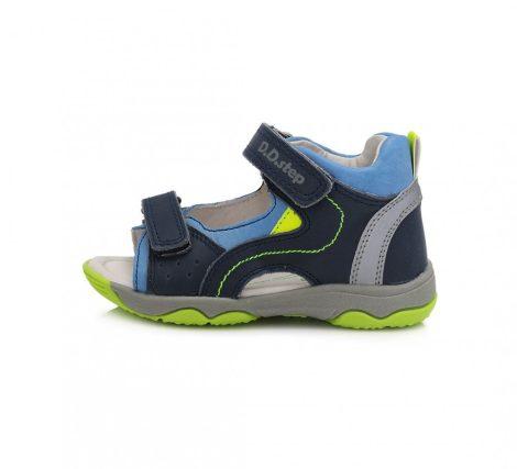 D.D. Step kisfiú bőrszandál, 2 tépőzáras, kék-zöld ,20,21-es(ac64-529a)- (KISEBB MÉRETEZÉS)!