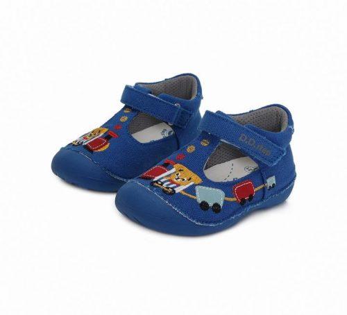 D.D. Step kisfiú kék vonatos vászon szandálcipő , 21,22 - (C015-224) ÚJ MODELL!!