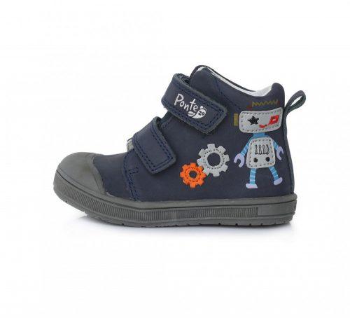 PONTE20 szupinált fiú átmeneti TEX-es bőrcipő,sötétkék,robotos!  22-es (DA03-1-414A) -AKCIÓS!!