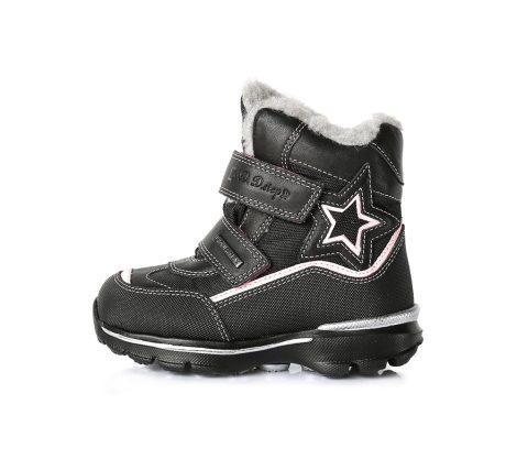 D.D. Step lány téli AQUATEX-ES bélelt bakancs fekete,rózsaszín csillaggal,24,25 (F651-700bm)