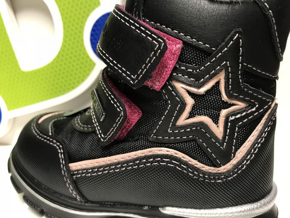 D.D. Step lány téli AQUATEX ES bélelt bakancs fekete,rózsaszín csillaggal,24 28 (F651 700bm)