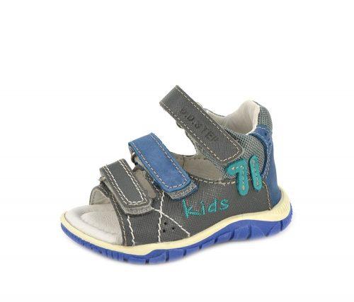D.D. Step kisfiú bőr szandál- kék, szürke KIDS FELIRATOS - 19,20 (K330-8B)